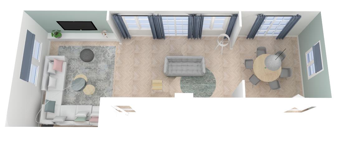 Projecten - Restyling Woonkamer - Bovenaanzicht - Ontwerp in Sketchup!